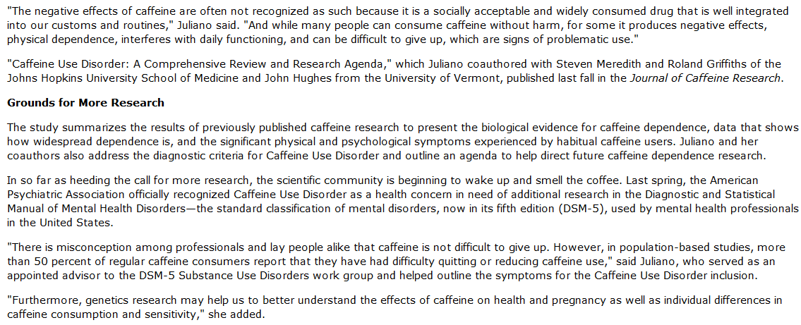 the negative effects of caffeine Negative influence on vitamins and minerals: caffeine's diuretic effect causes loss of potassium, calcium, magnesium, zinc and other minerals, the b vitamins, especially thiamin, b1, and vitamin c caffeine, and particularly coffee, reduces absorption of iron and calcium, especially when it is drunk around mealtime.